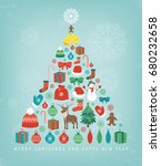 christmas greeting card with... | Shutterstock .eps vector #680232658