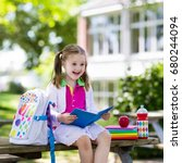 child going back to school.... | Shutterstock . vector #680244094