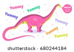 kids party banner with cute... | Shutterstock .eps vector #680244184