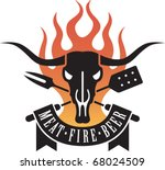 barbecue vector emblem with cow ...   Shutterstock .eps vector #68024509