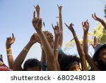 low angle view of cheerful... | Shutterstock . vector #680248018