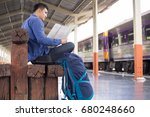 man traveler with backpacker... | Shutterstock . vector #680248660