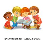 group of happy kids reading... | Shutterstock .eps vector #680251408