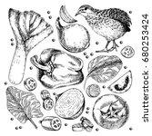vector hand drawn set of farm... | Shutterstock .eps vector #680253424
