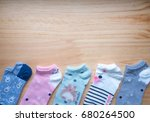 colorful socks for woman on... | Shutterstock . vector #680264500