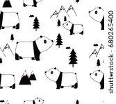 black and white panda pattern...   Shutterstock .eps vector #680265400