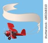 vector cartoon biplane with... | Shutterstock .eps vector #680268310