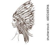 beautiful girl in a headdress... | Shutterstock .eps vector #680268346