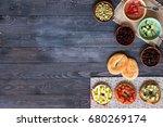 italian bruschetta with cheese  ...   Shutterstock . vector #680269174
