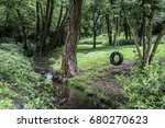 Car Tire Used As Swing On Tree...