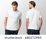 white polo  shirt  on a young... | Shutterstock . vector #680272984