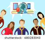mans and women with speech... | Shutterstock .eps vector #680283043