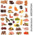 collection of food on white... | Shutterstock . vector #680284564