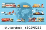 delivery service concept.... | Shutterstock .eps vector #680295283