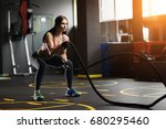 athletic young woman doing... | Shutterstock . vector #680295460