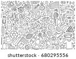 line art vector hand drawn... | Shutterstock .eps vector #680295556
