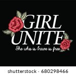 embroidery flowers and slogan | Shutterstock .eps vector #680298466