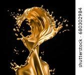 a splash of gold. 3d... | Shutterstock . vector #680302984