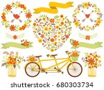 vector romantic autumn set... | Shutterstock .eps vector #680303734