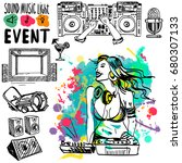 vector sketch with the dj and a ... | Shutterstock .eps vector #680307133