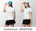 white polo on a young woman in... | Shutterstock . vector #680307460