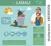 garbage vector flat style...   Shutterstock .eps vector #680309308