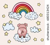 pink pig on sky with rainbow... | Shutterstock .eps vector #680313424