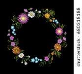 floral blue violet daisy... | Shutterstock .eps vector #680318188