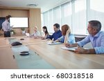 business people at conference... | Shutterstock . vector #680318518