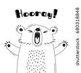illustration with joyful bear...   Shutterstock .eps vector #680318848