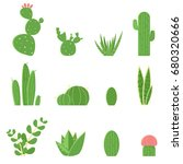 flat vector set of cacti and... | Shutterstock .eps vector #680320666