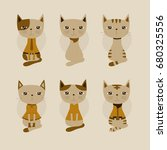 adorable cat background. cute...   Shutterstock .eps vector #680325556