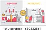 comparison between inbound and... | Shutterstock .eps vector #680332864