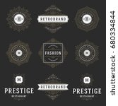 luxury logos templates set ... | Shutterstock .eps vector #680334844