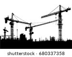construction site with cranes... | Shutterstock .eps vector #680337358