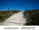 Sand Steps On Ocean Beach At...