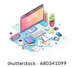 isometric concept of workplace... | Shutterstock .eps vector #680341099
