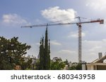 construction crane with cables... | Shutterstock . vector #680343958