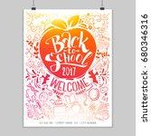 vertical back to school poster... | Shutterstock . vector #680346316