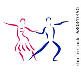 dancing couple logo isolated on ... | Shutterstock . vector #680349490