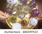 Top View Of Golden Tea Tray...