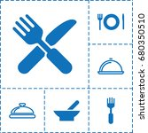 serving icon. set of 6 serving... | Shutterstock .eps vector #680350510
