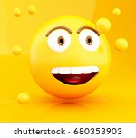 3d illustration. emoji icons... | Shutterstock . vector #680353903