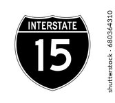 interstate highway 15 road sign ... | Shutterstock .eps vector #680364310