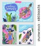 vector set of bright summer... | Shutterstock .eps vector #680366656