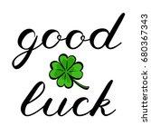 Good Luck Brush Lettering. Cut...