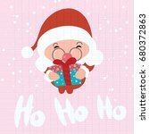 santa claus stand and smile.... | Shutterstock .eps vector #680372863