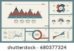 six analytics charts slide... | Shutterstock .eps vector #680377324