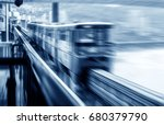 light rail moving on railway in ... | Shutterstock . vector #680379790