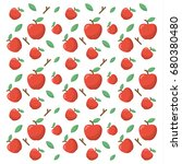 pattern with red apple fruits... | Shutterstock .eps vector #680380480